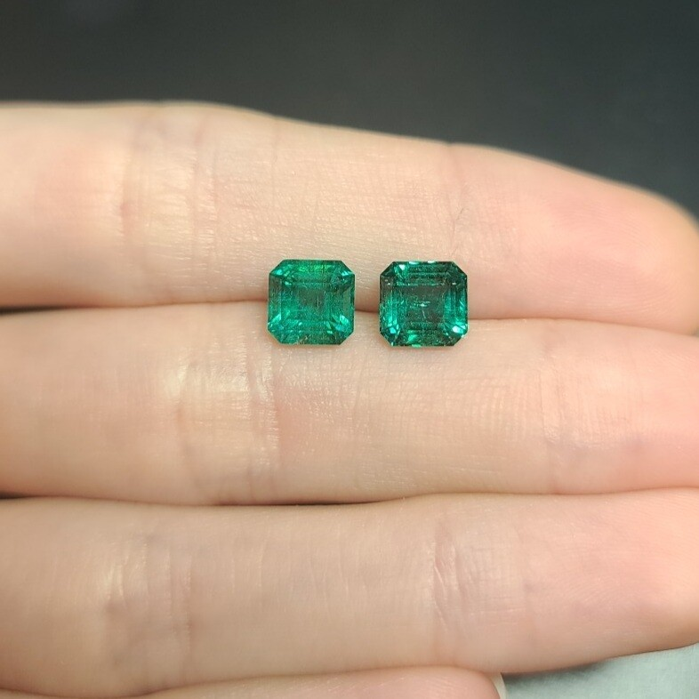 Sq.Emeralds cut pair 1.62 ct and 1.63 ct