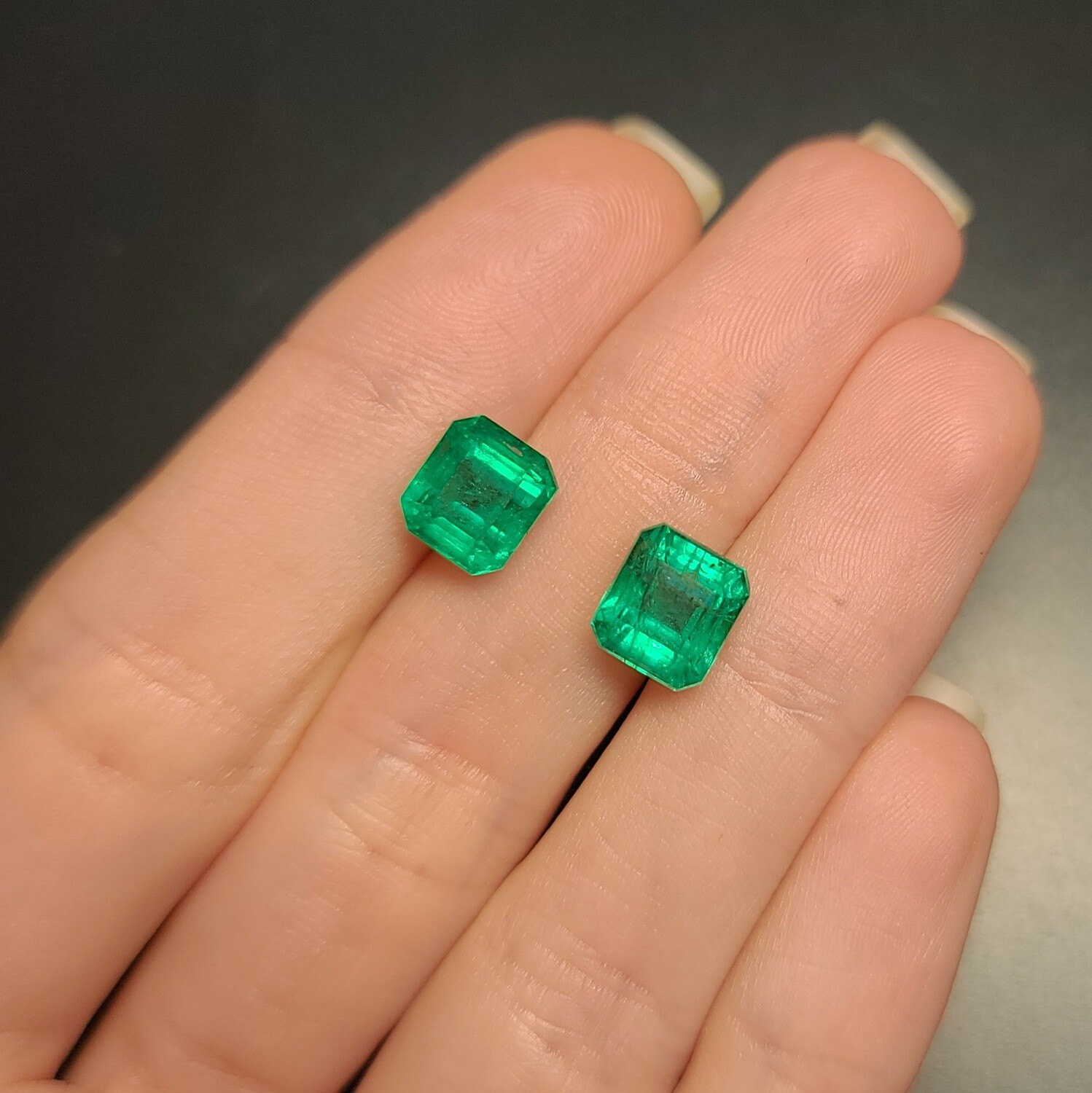 Emeralds octagon cut pair 2.81 ct and 3.05 ct