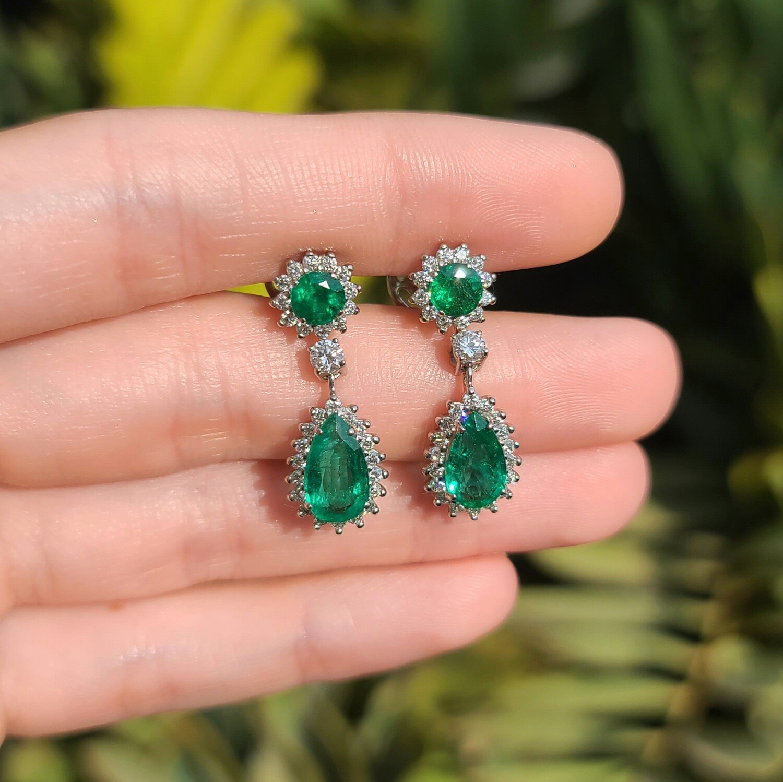Emerald earrings Pear cut 4.03 ct