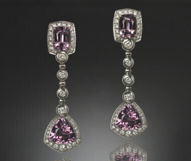18K Gold Earring with Pink Spinel, White and Black Diamonds