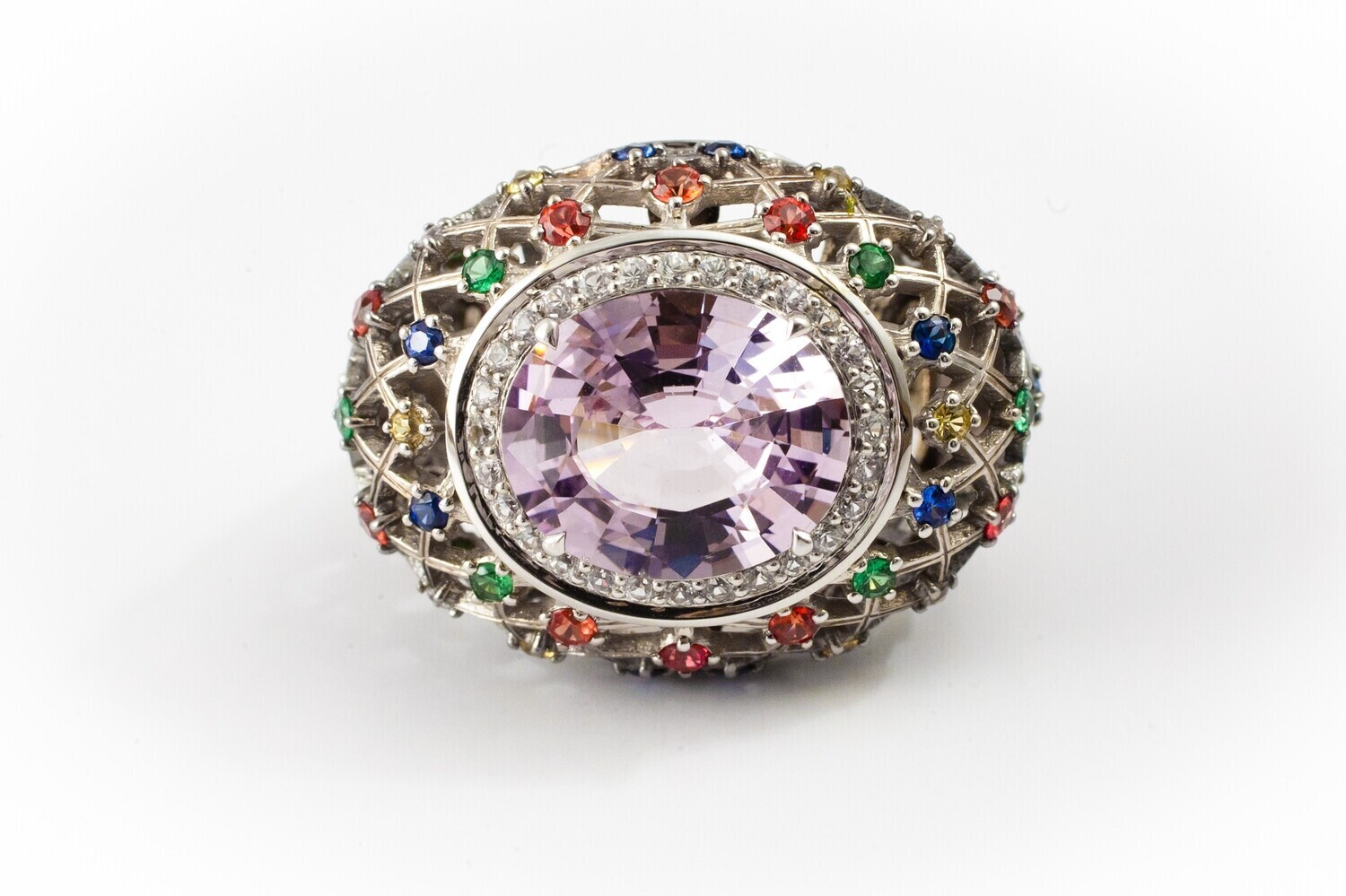 18K Gold Ring with Spinel and Sapphires, Color Gems Collection, U361R