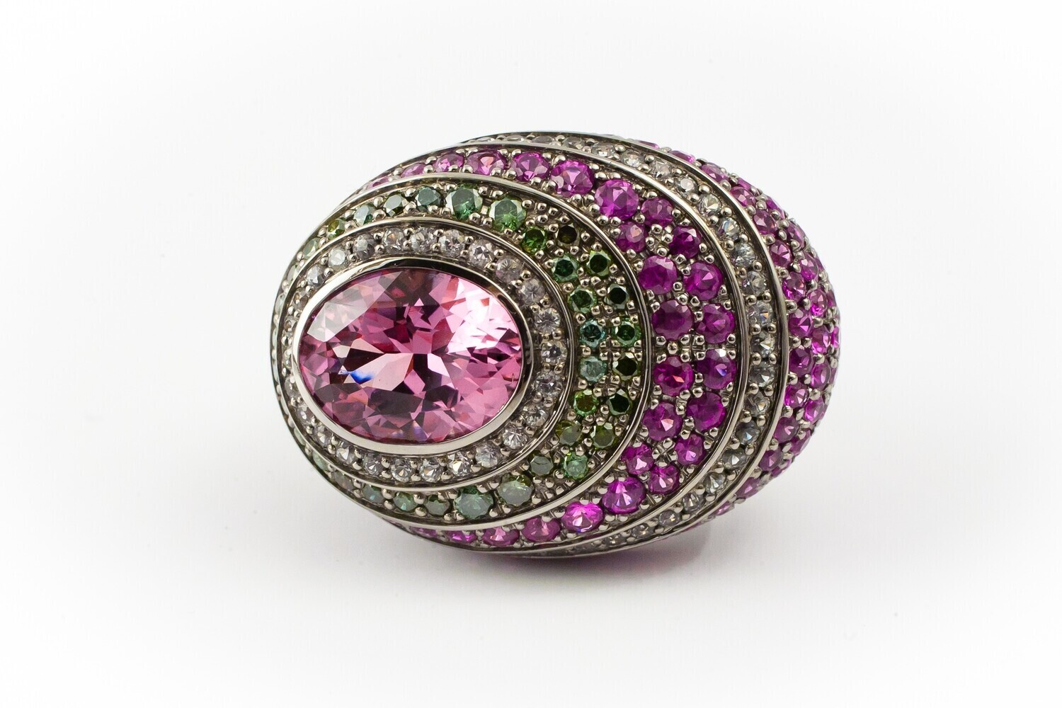 18K Gold Ring with Spinel, Rubies, Green Diamonds and Sapphires, Color Gems Collection, U353R