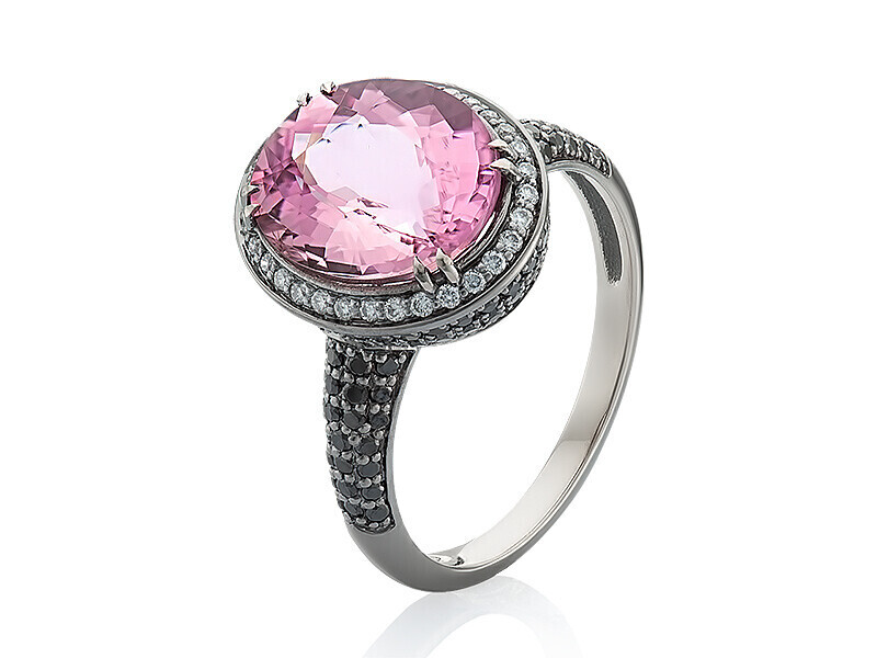 18K Gold Ring with Rubilite and Diamonds, Color Gems Collection, U456R