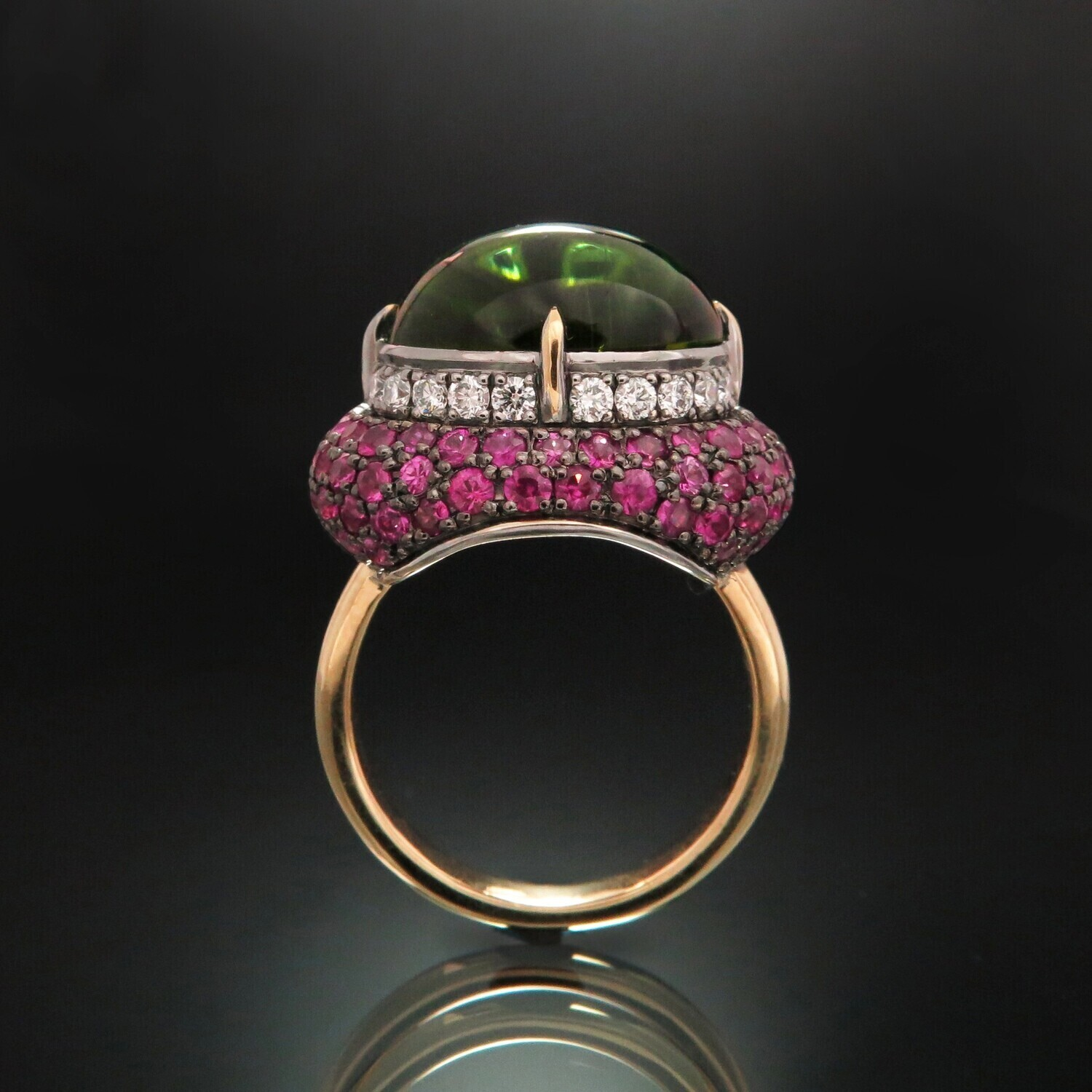 14K Gold Ring with Tourmaline, Diamonds and Sapphires, VH008