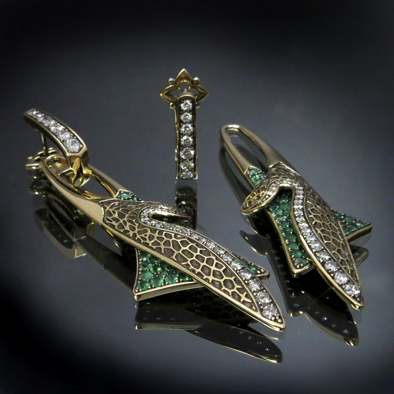 14K Gold Earrings with Emeralds and Diamonds (removable bottom parts), BOE38
