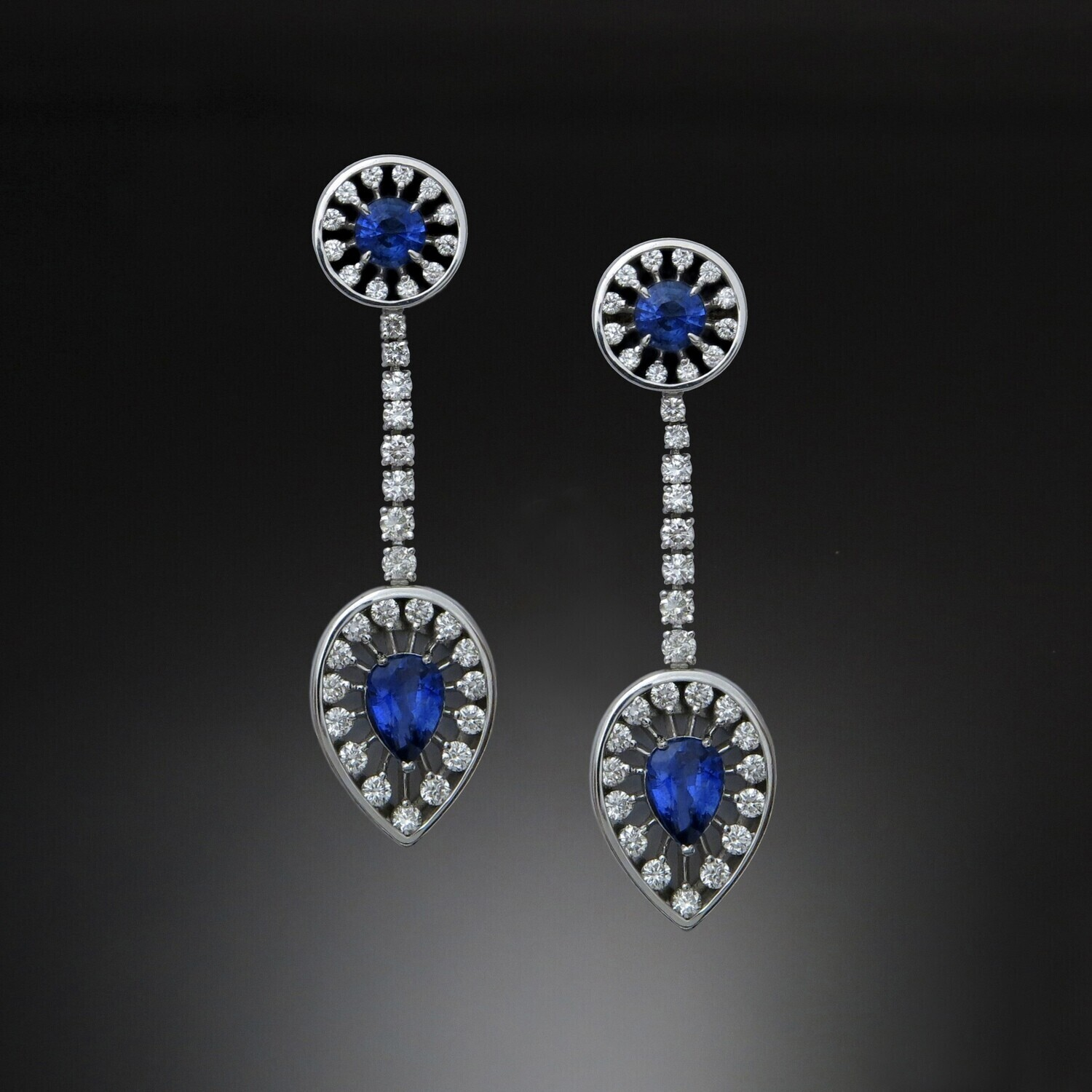 14K Gold Earrings with Blue Sapphires and Diamonds, SF001E