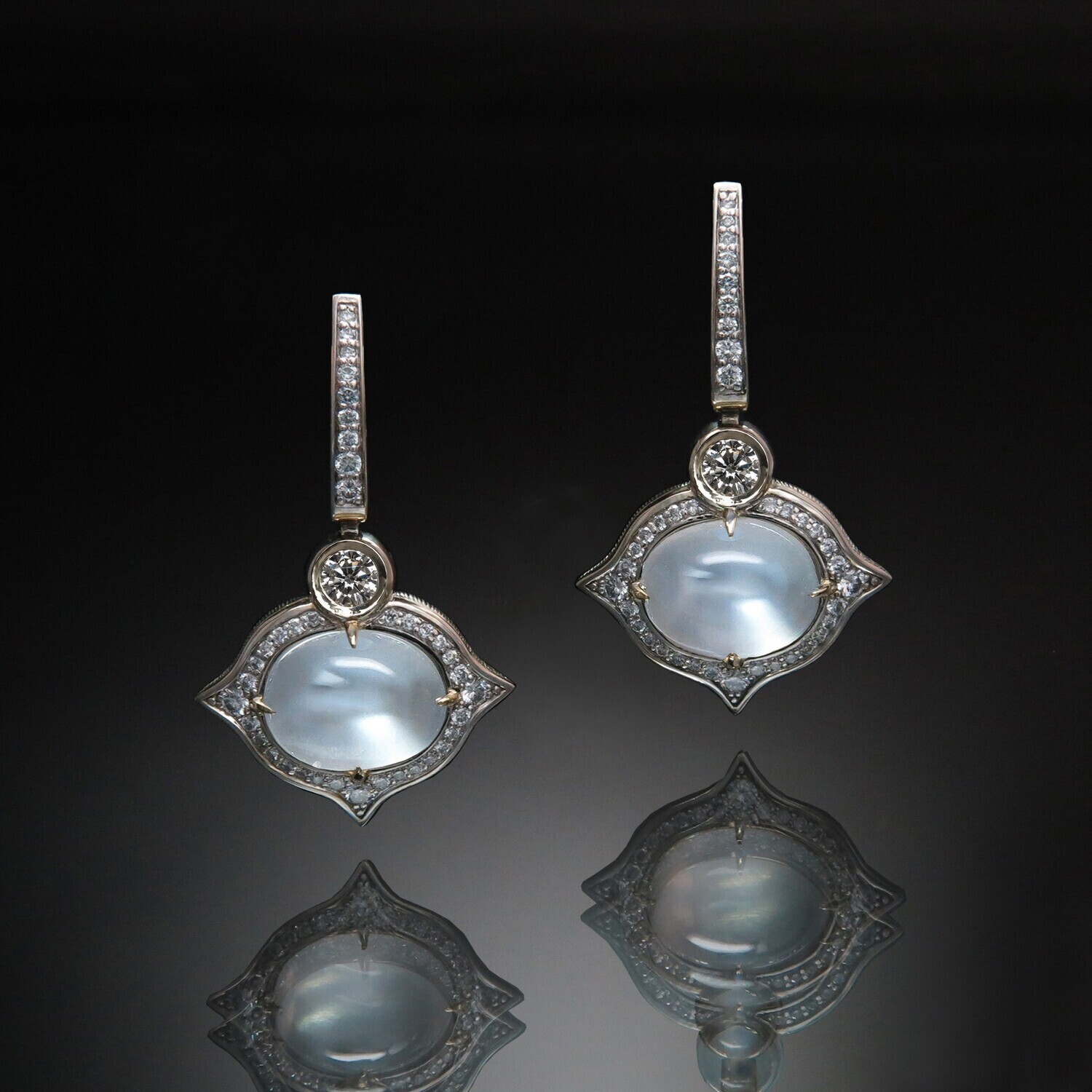 14K Gold Earrings with Adular (Moonstone) and Diamonds, PS003R