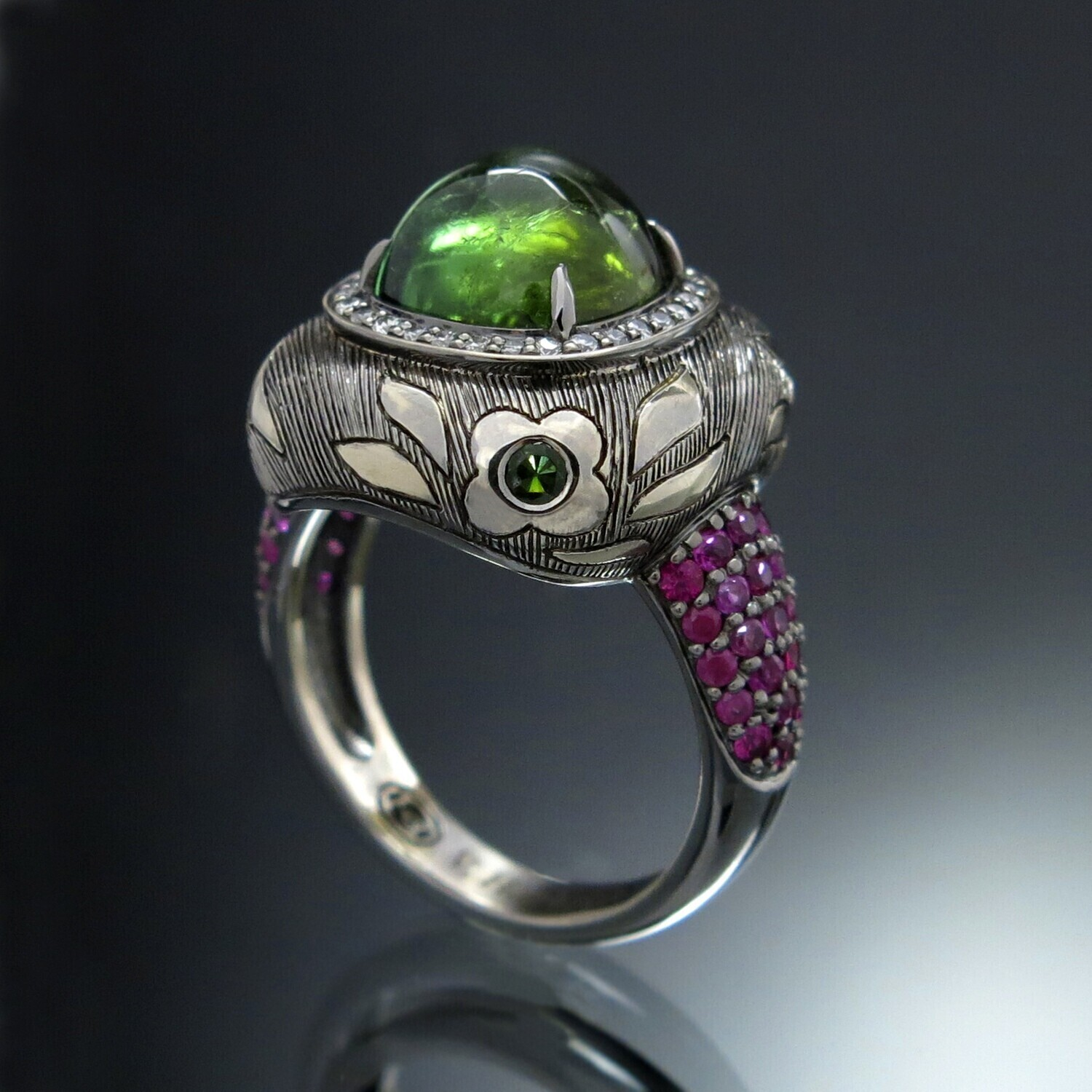 18K Gold Ring with Tourmaline, Diamonds and Rubies, VH001