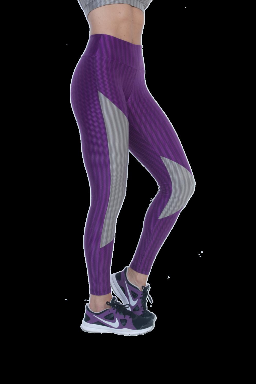 Purple/grey wet look leggings