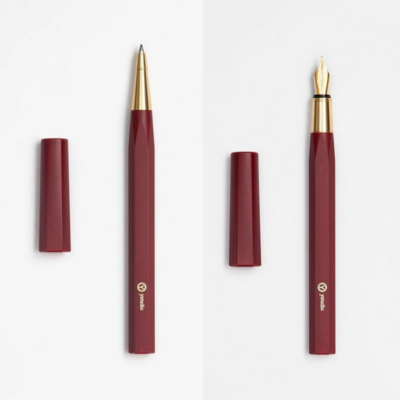 Resin Rollerball and Fountain Pen Set in Black, Red or White - Gift Set