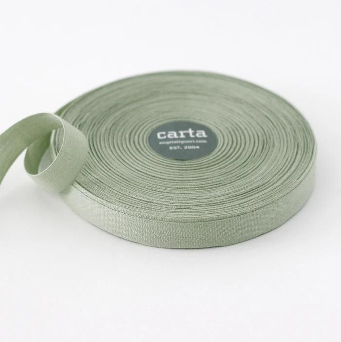 Studio Carta Ribbon - Sage Tight Weave Cotton - 1 Meter