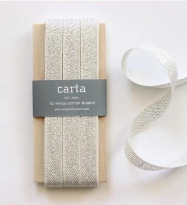 Studio Carta Ribbon - Metallic Silver - 10m Wooden Paddle