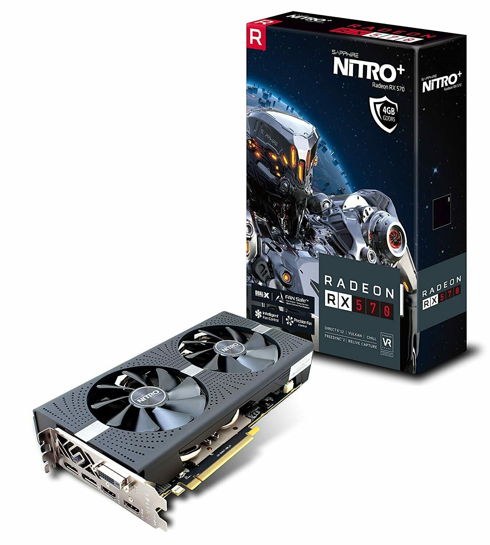 Sapphire Radeon NITRO+ RX 570 4GB GDDR5 HDMI/DVI-D/DUAL DP with backplate (UEFI) PCI-E Graphics Card