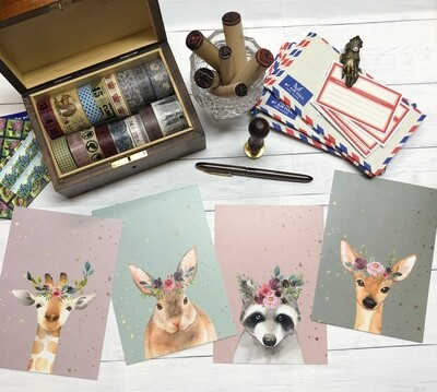 Cute Woodland Animals Postcards