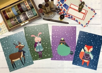 Woodland Winter Postcards