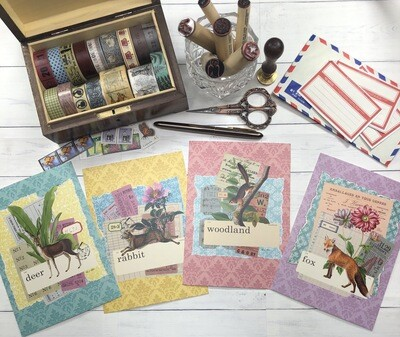 Collage Art Woodland Postcards