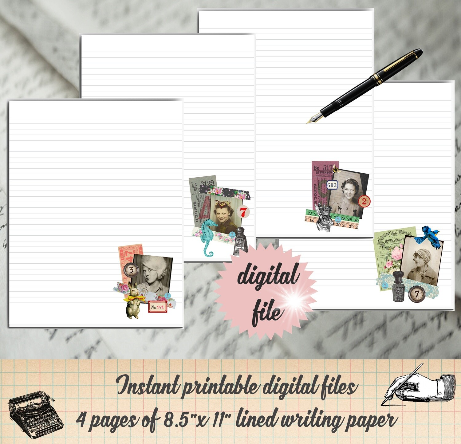 Retro Printable Stationary