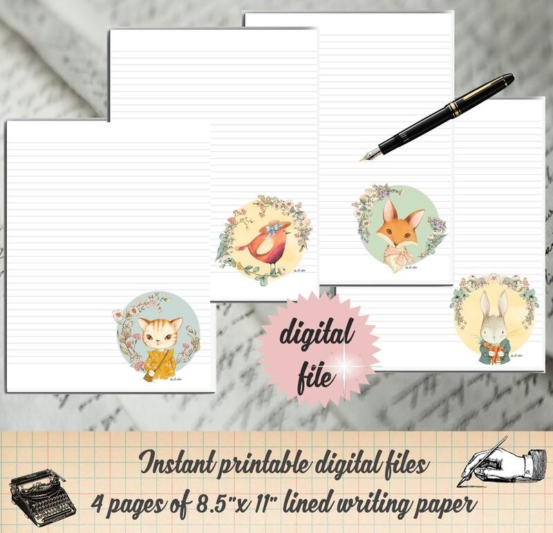 Cute Woodland Animal Printable Stationary Digital Writing Paper