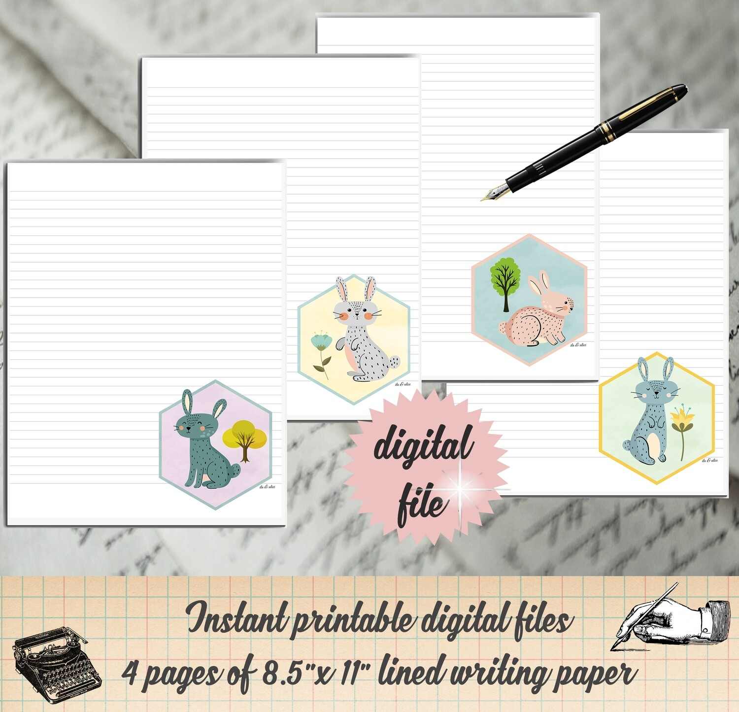 Cute Bunnies Digital Writing Paper