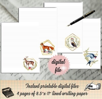 Woodland Creature Printable Stationary Paper
