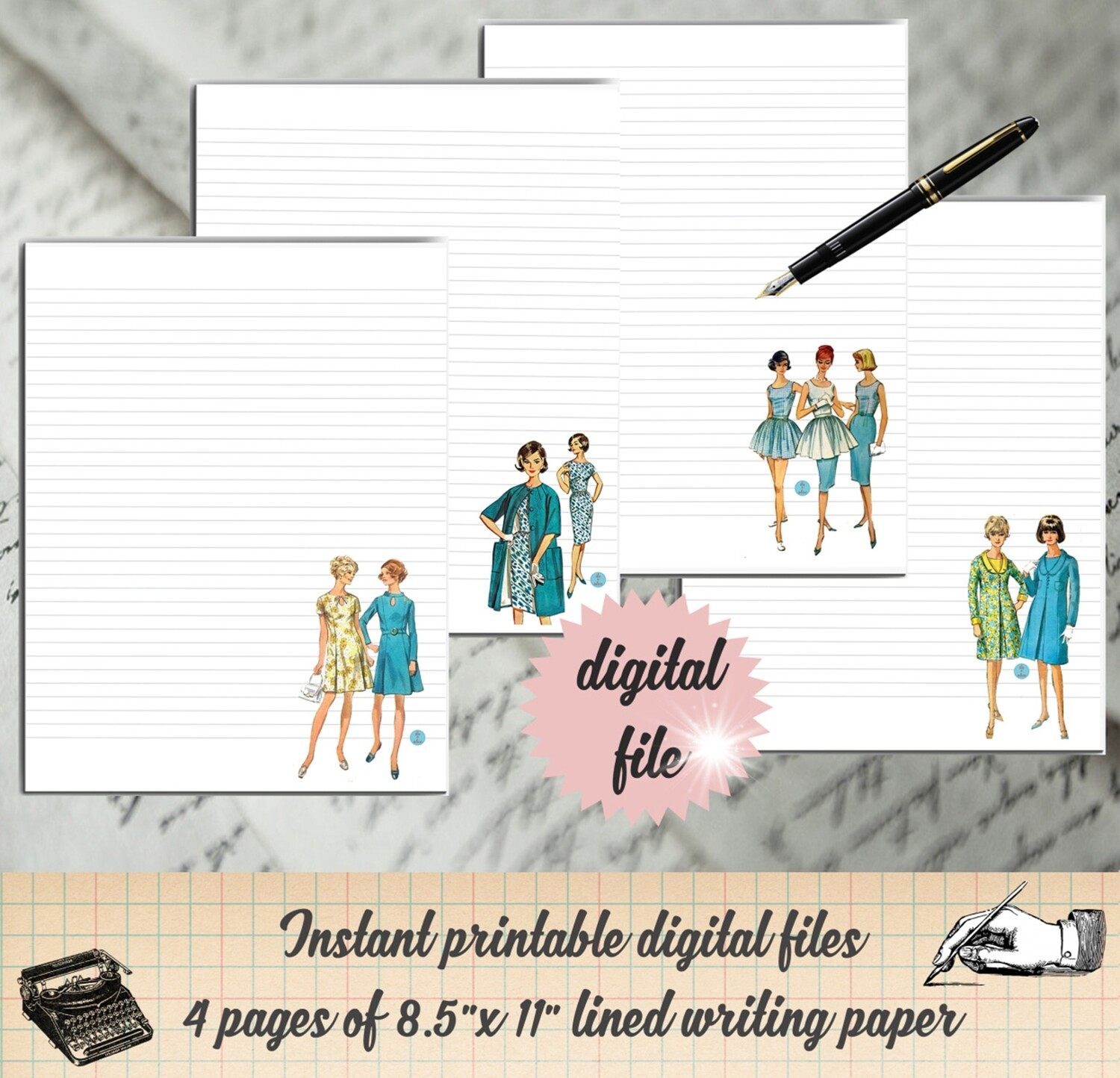 Vintage Women Printable Stationary-Retro Ladies Digital Paper