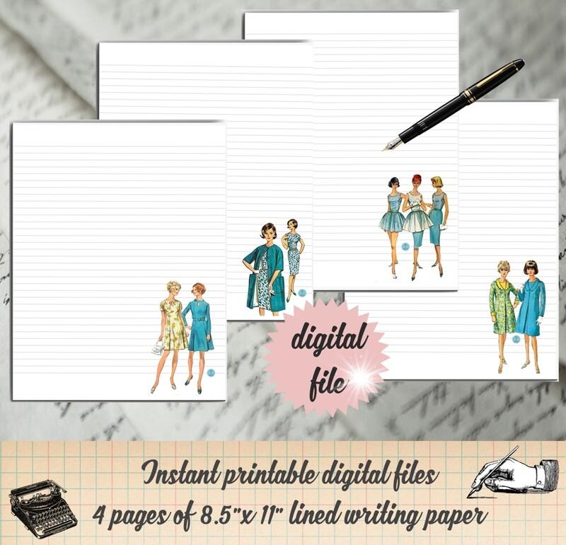 Vintage Women Printable Stationary-Retro Ladies Digital Paper