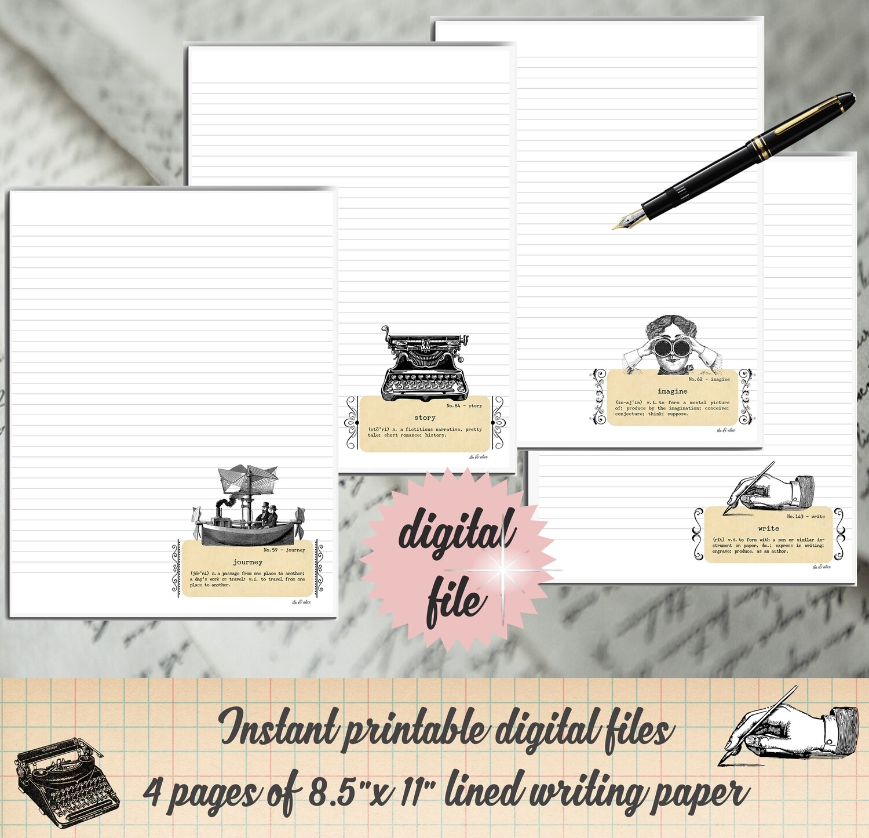 Retro Style Digital Paper-Printable Stationary