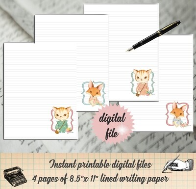 Cat and Fox Printable Stationary-Kitty Writing Paper