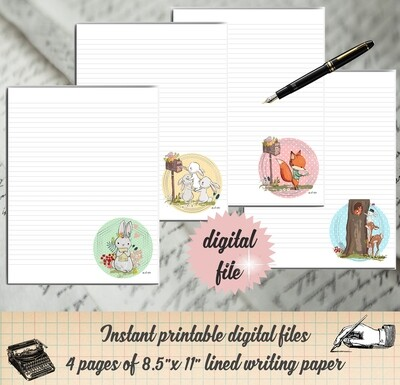 Forest Animal Snail Mail Printable Stationary- Digital Writing Paper