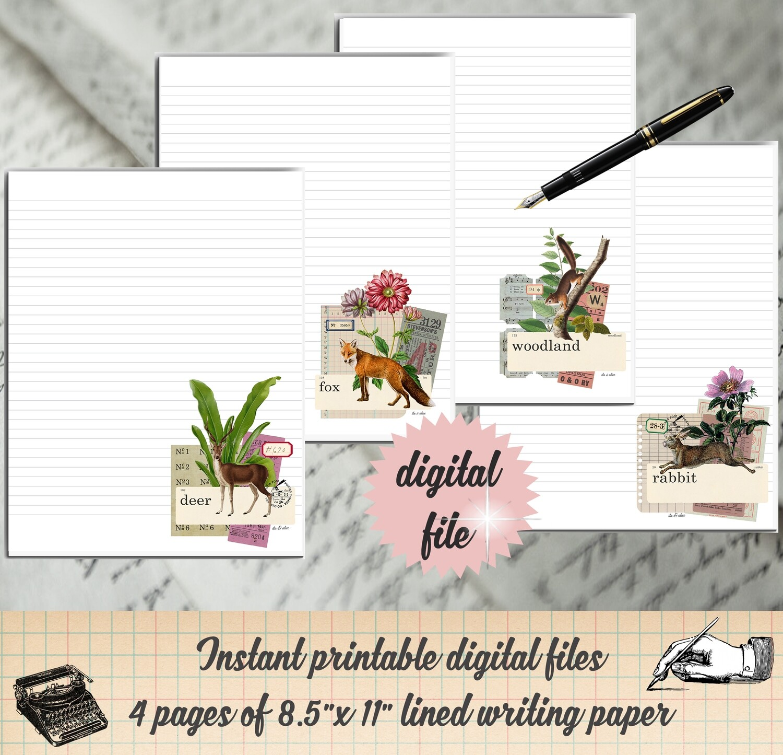 Woodland Animal Printable Stationary-Forest Animal Digital Writing Paper
