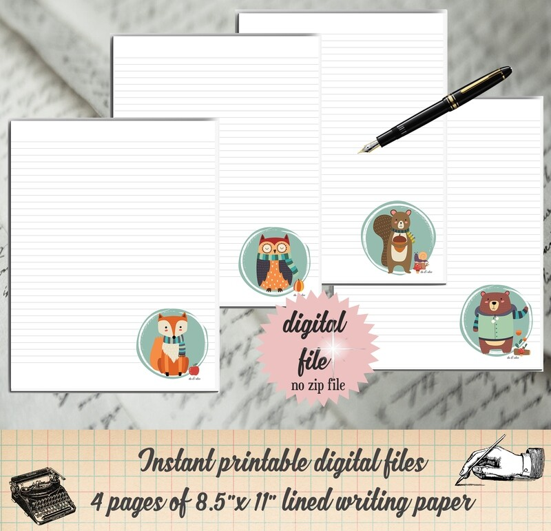 Forest Animal Printable Stationary Fall Writing Paper