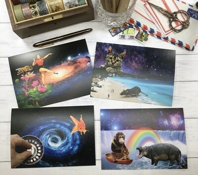 Space Collage Art Postcards