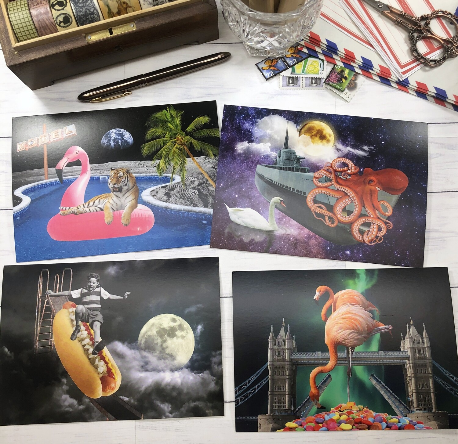 Collage Art Postcards with Moon Bathing Tiger