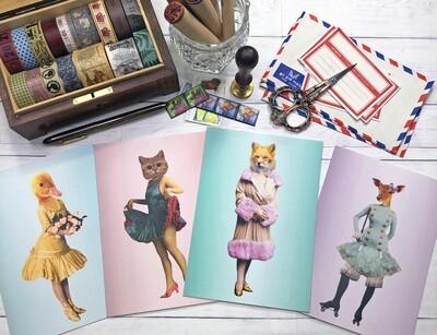 Quirky Half Lady Half Animal Postcards