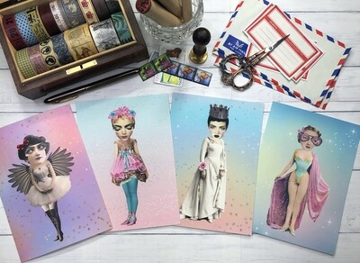 Whimsical Paper Doll Postcards