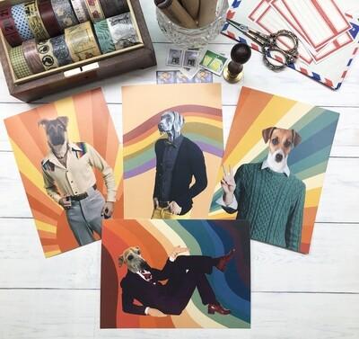 Four Handsome Hounds Postcards