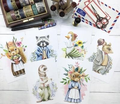 Adorable Woodland Animals Postcards