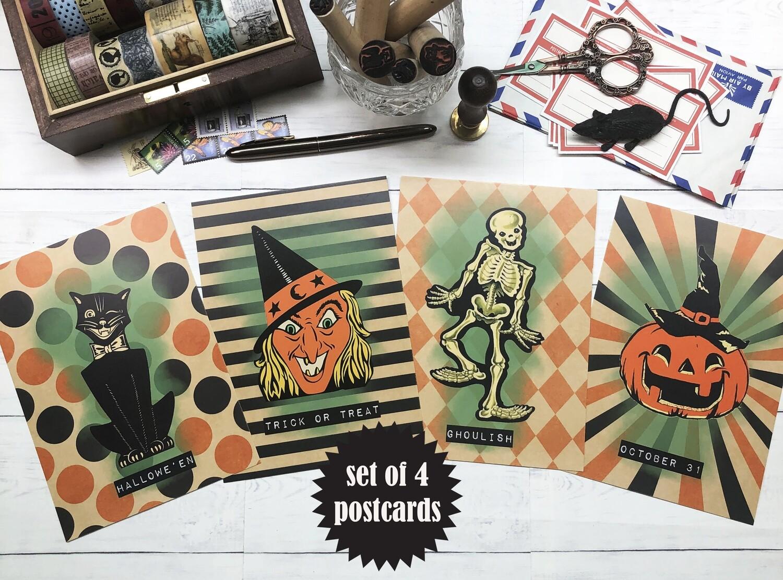 Retro Style Halloween Postcards