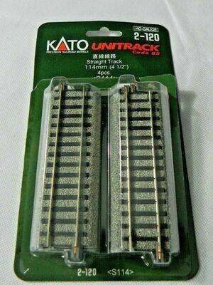 "Kato 2-120 Straight Track 114mm (4 1/2"") HO Scale - UniTrack"