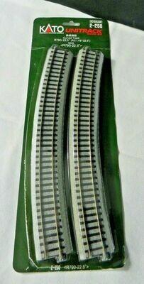 "Kato 2-250 Curved Track  ( 1/8""-22.5) HO Scale - UniTrack"