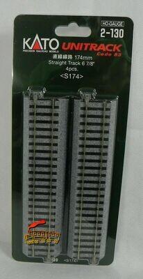 "KATO 2-130 HO Scale 174mm 6 7/8"" Straight Track (4)"