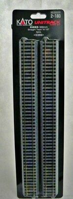 "Kato 2-180 Straight Track (4 pcs - 14 1/2"") HO Scale - UniTrack"