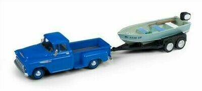 Classic Metal Works 1957 Chevy Step Side Pickup Truck w/Fishing Boat & Trailer