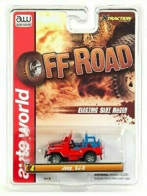 Auto World Xtraction R24 Jeep CJ-5 (Red) HO Scale Slot Car