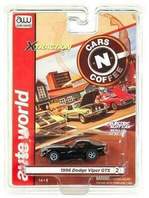 Auto World Xtraction R23 1996 Dodge Viper GTS Black HO Scale Slot Car