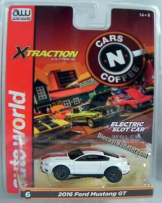 Auto World Xtraction R26 2016 Ford Mustang GT (White) HO Scale Slot Car