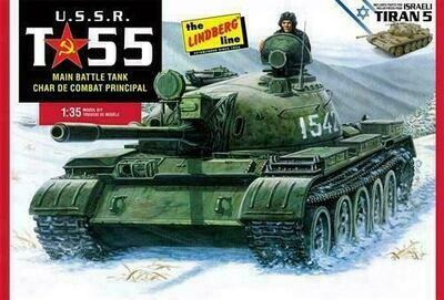 Lindberg USSR T-55 Battle Tank 1:35 Scale Model Kit
