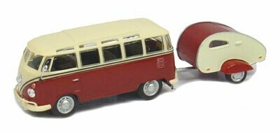 Volkswagen Samba Bus in Red and White with Teardrop Camper Trailer