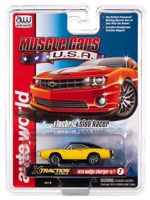Auto World X-Traction R30 1970 Dodge Charger (Yellow) HO Scale Slot Car