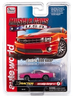 Auto World X-Traction R30 1970 Dodge Charger (Pink) HO Scale Slot Car